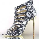 "Red Kiss Summer Dance Black / White Cut Out Tribal Print 4.5"" Heel Bootie Shoe"