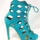 Cape Robbin Heidi Turquoise Diamond Cut Open Toe Booty Shoe Pump  6 - 11