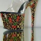 "Motif 701 CL Leopard Cherry Print Platform Slide Clear Upper 7"" Heel Shoe 11 12"
