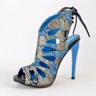 Alba Aviva Blue Multi Floral Print Open Toe Slingback Tear Drop Stiletto Heel