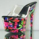 """Motif 701 GF Neon Abstract Print Platform Clear Upper 7"""" Heel Shoe 10 11 12"""