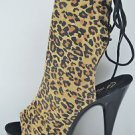 "PREVIOUSLY SOLD Delight 1018LP Leopard Suede 6"" Platform Heel Ankle Boot Size 13"
