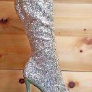 Blondie 2011 Gold Sequin Dual Rhinestone Platform Knee Boot Size 11
