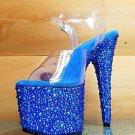 "Bejeweled 708 MS Blue Rhinestone Platform Clear Strap Shoe 7"" Heel Sizes 9 & 10"