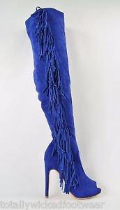 Cape Boho Blue Side Fringe Open Toe Thigh High Boots Size 6 & 6.5