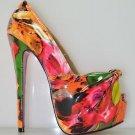 RK Rita Tropical Floral Patent Knotted Platform Peep Toe Heels Orange Size 8