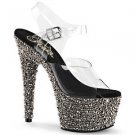"Bejeweled 708MS Pewter Rhinestone Platform Clear Strap 7"" Stiletto Heel Shoe 6 8"