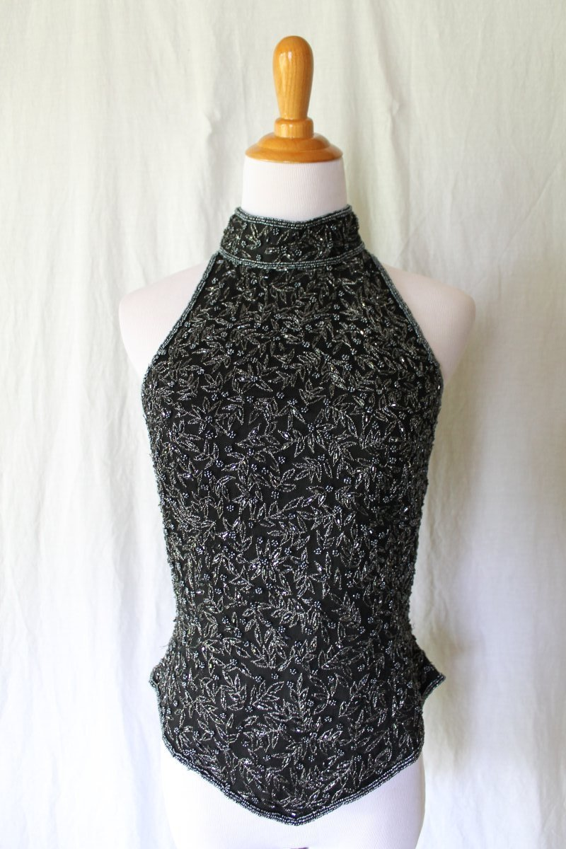 ADRIANNA PAPELL Beaded Black Silk 1920's 30's Deco Style Bodice Corset Top small