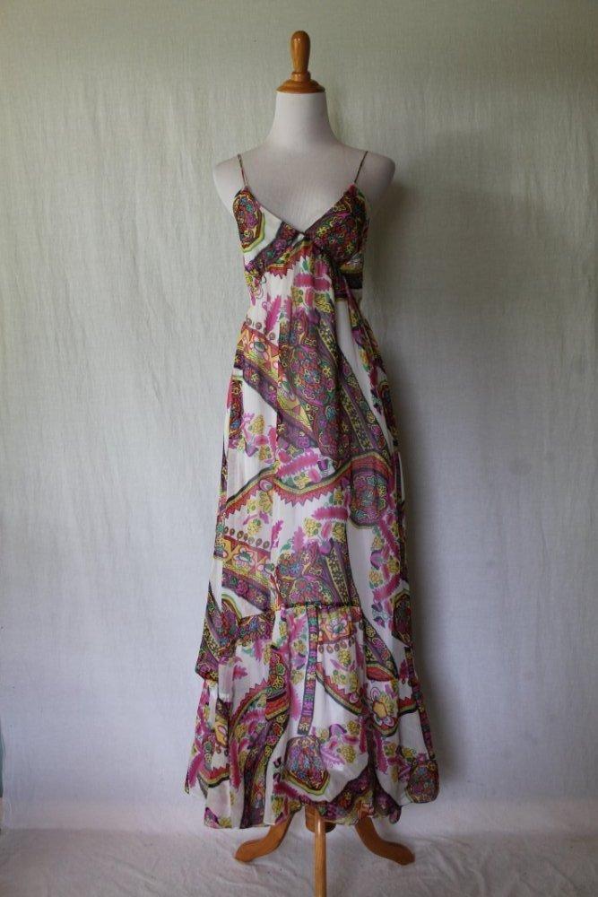 Vintage Lacy Parker (Parker) Colorful Paisley Silk Empire Waist Maxi dress XS