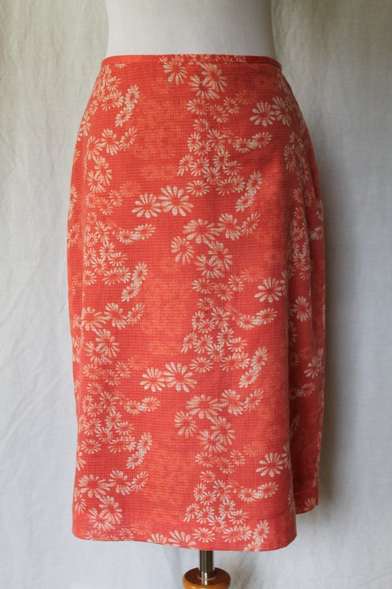 Banana Republic Cantaloupe & White resist dyed Lined Cotton Blend Pencil Skirt 2