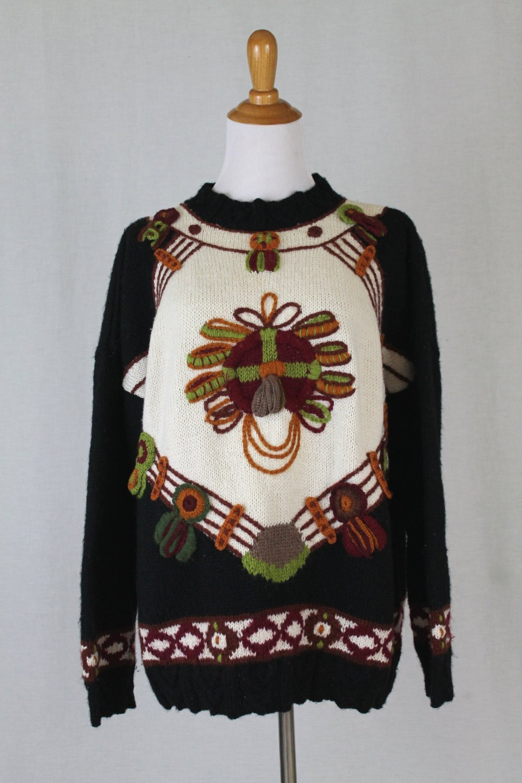 Roberta Freymann Roberta Roller Rabbit Warm Handknit Wool Uruguayan Sweater S