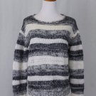 Cynthia Rowley Gray & White Stripe Fuzzy Mohair Blend Boyfriend Sweater Medium