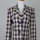 YSL Yves St Laurent Rive Gauche Cream & Navy Plaid Wool Silk Blend Jacket 40 10