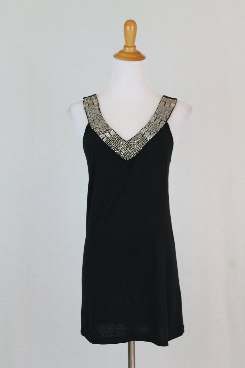 CYNTHIA ROWLEY Silver & Gold Beaded Black Jersey Sleeveless Evening Top S NWOT