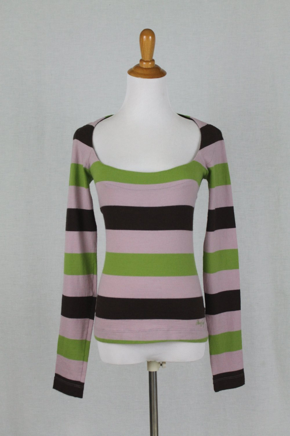 Miss Sixty Striped Wool Blend Scoop Neck Long Sleeve Sweater Made in Italy M