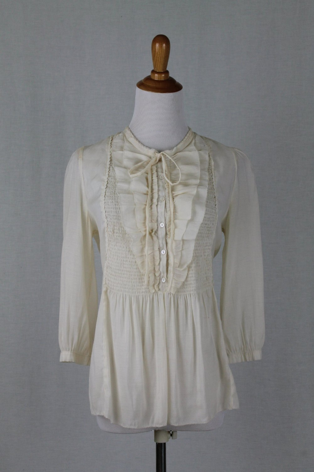 Miss Me Collection Creamy Ivory Cotton & silk Voile Smocked Peasant Blouse Small
