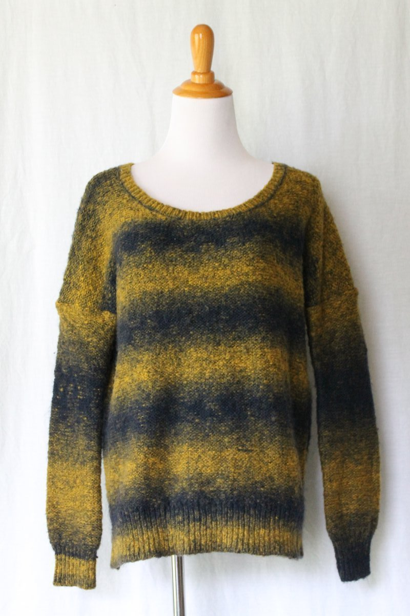 Ecote Anthropologie Sweater Bumble Bee Mohair Wool Blend Black & Mustard S NEW