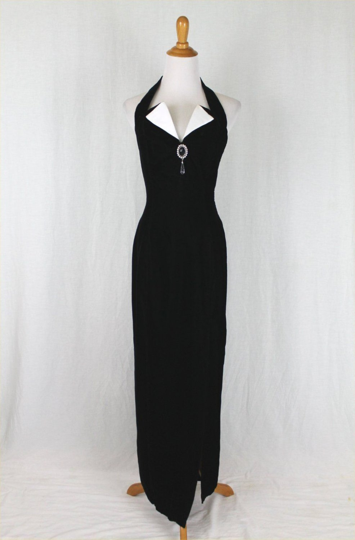 Vintage 90's Roberta Long Black Velvet Tuxedo Style Halter Gown Gothic Prom 3/4