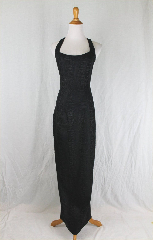 Sophie Sitbon Paris Long Sleeveless Black Python Evening Dress France 38