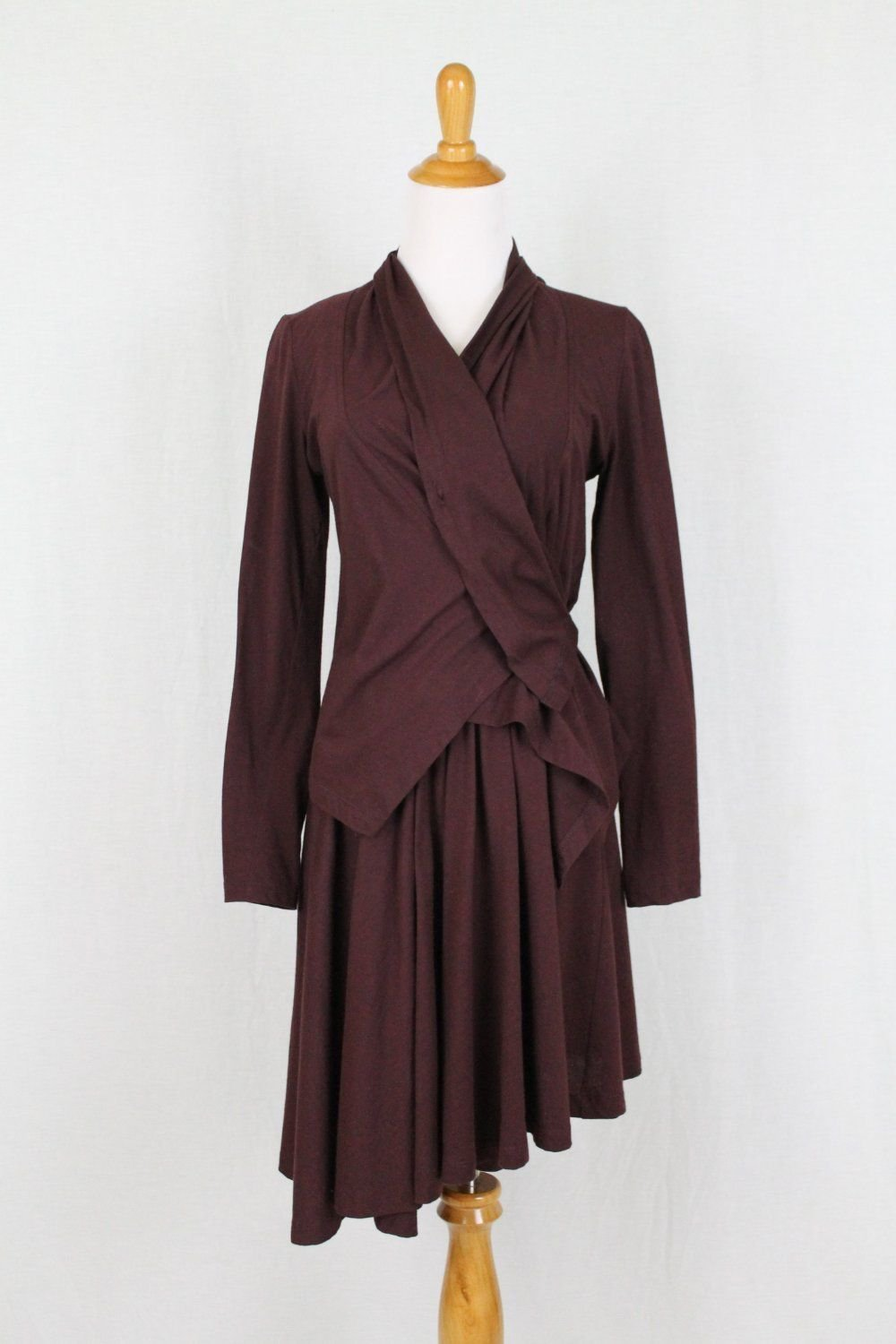 Morgane Le Fay Burgundy Asymmetrical Hem Sleeveless Ballerina Dress & Jacket XS