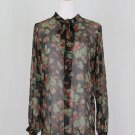 POLO Ralph Lauren Sheer Black Floral Crinkle Silk Chiffon Long Sleeve Tunic 4 S