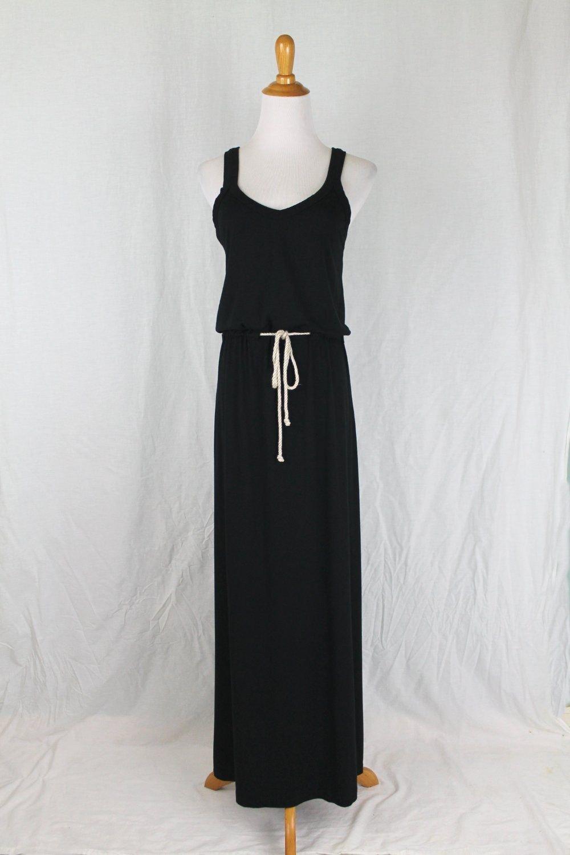 Kain Label Sleeveless Soft Black Rayon Jersey Drawstring Maxi Dress P XS S New