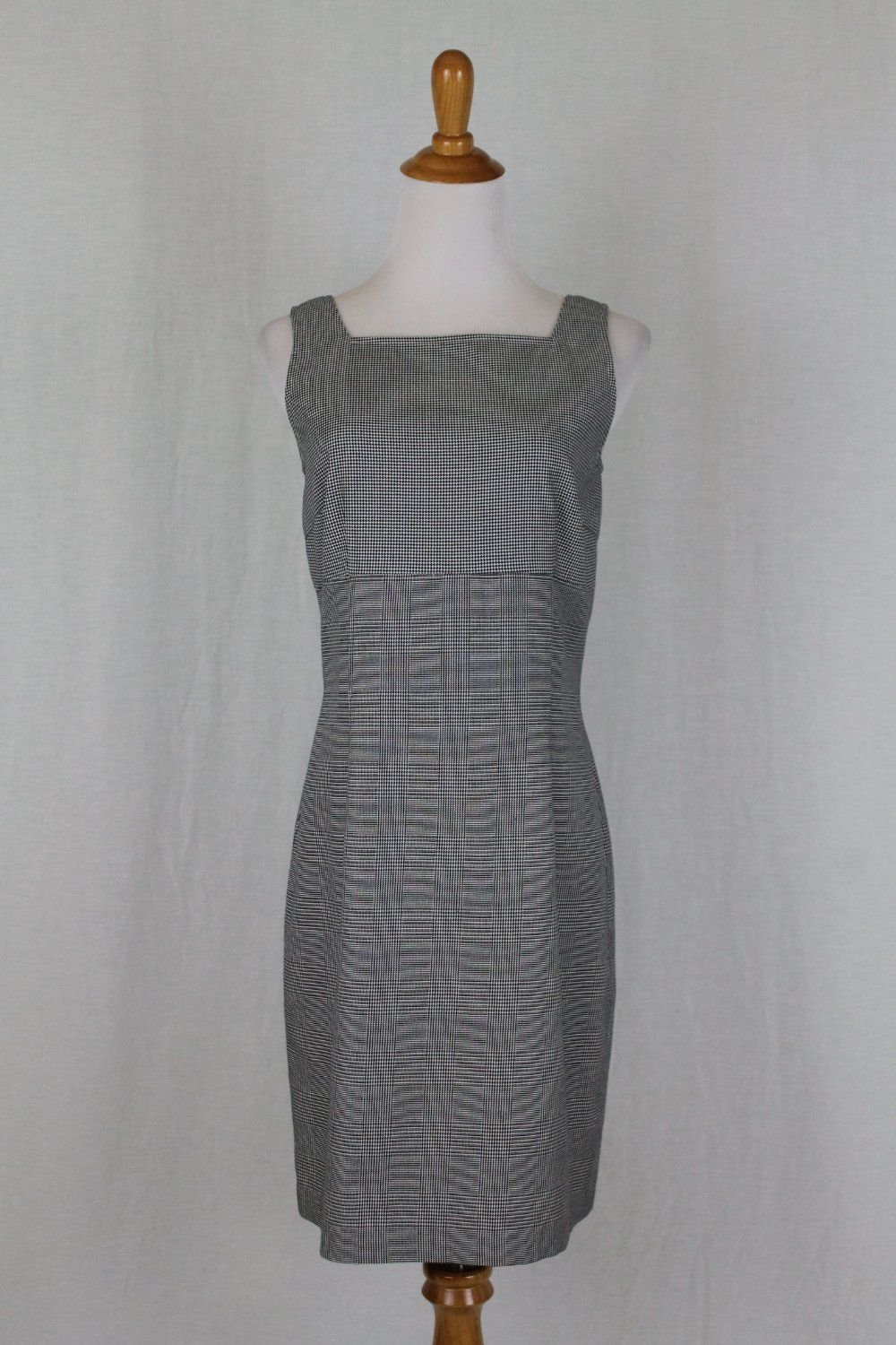 Vintage Tommy Hillfiger 1990's Sleeveless Cotton Houndstooth Sheath Dress 6 S