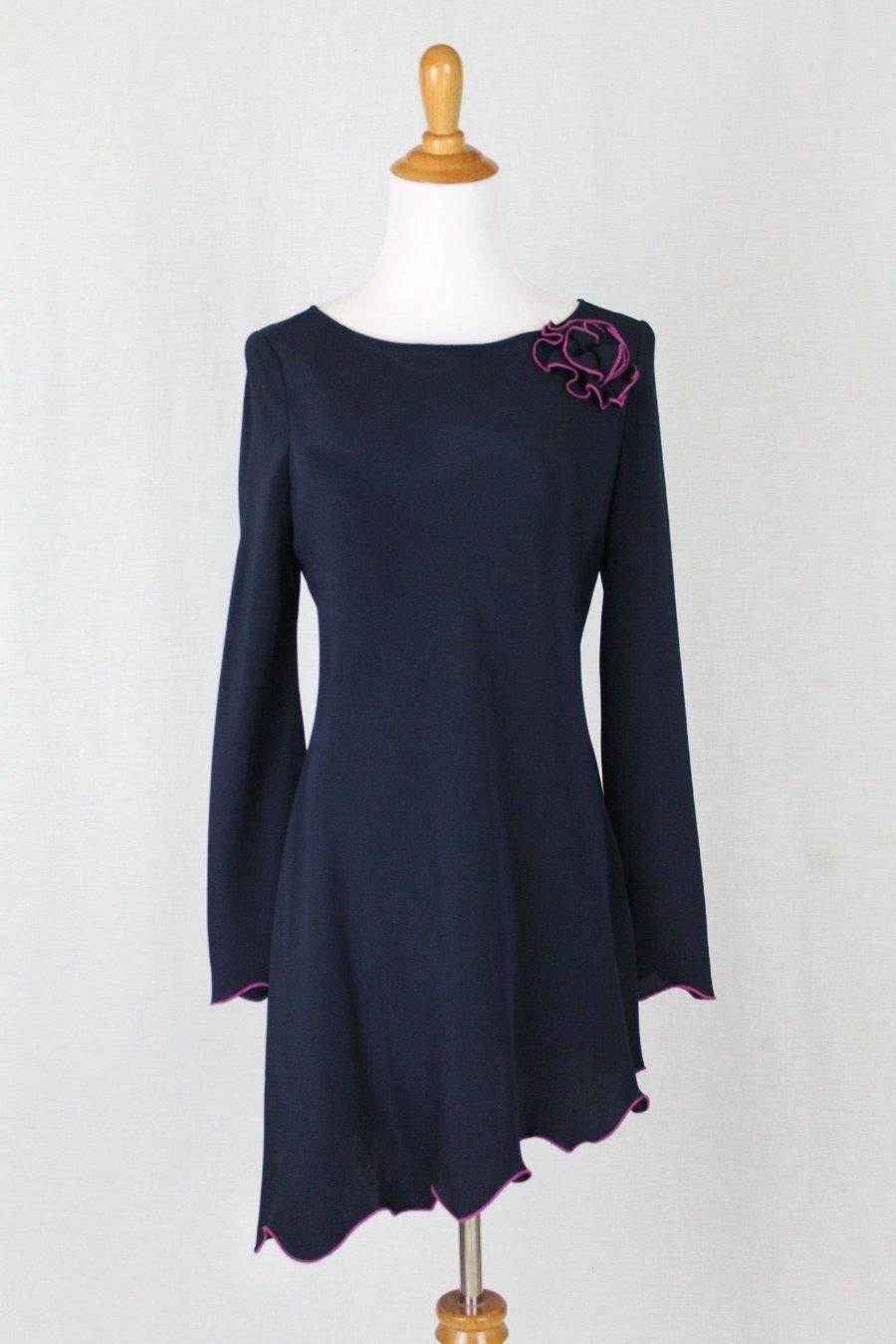 Vintage Holly Harp Navy Blue Silk Jersey Asymmetrical Hem Tunic Top or Dress S