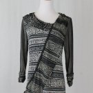 Vintage 1990's ANAC by Kimi Black & White Ikat Layered Mesh Tunic Top L
