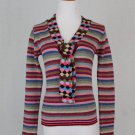 Vintage 1990's Iconic CACHAREL Colorful Wool Blend Sweater Made in France 36 S