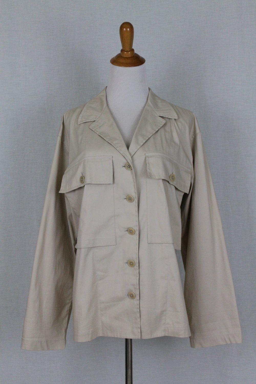 Lauren by Ralph Lauren Khaki Beige Button Front Safari  Military Jacket M New