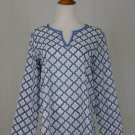 J. Jill French Blue Cotton Voile Provencal Woodblock Print Summer Tunic NEW XS