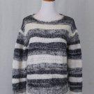 Cynthia Rowley Soft & Fuzzy Mohair Boyfriend Sweater Gray Stripes Medium NEW