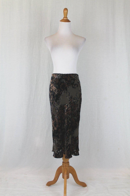 Adrianna Papell Beaded Burned Velvet Bias Cut Mid Calf Skirt Olive Brown Black 4