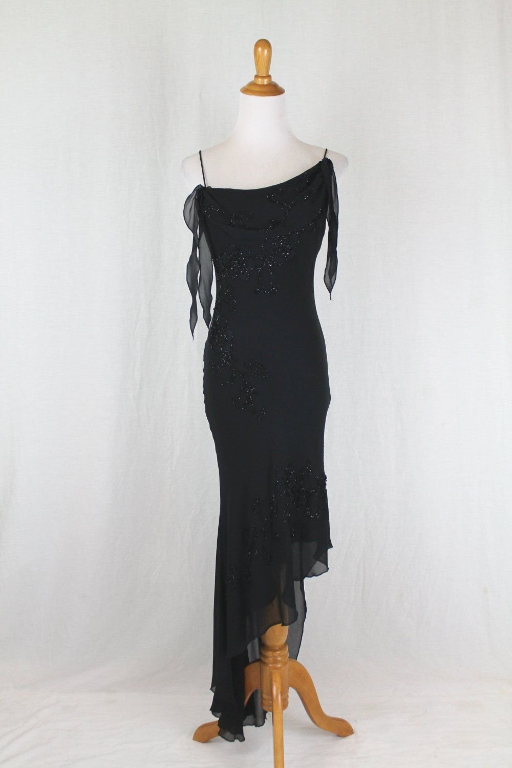 Vintage Cache 1920's 30's Inspired Beaded Long Black 100% Silk Bias Cut Gown 2