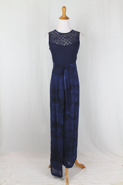 Vintage Carole Little 90's Navy Blue Tie Dye Chiffon Palazzo Pant Jumpsuit 6 S