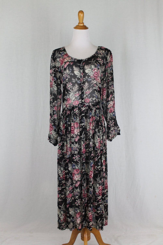 Vintage 80's STARINA 20's Style Long Midi Maxi Sheer Floral Print Artsy Dress S