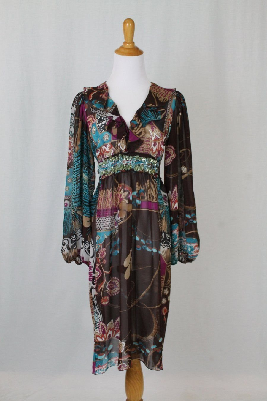 BLUMARINE Embellished Silk Chiffon Long Sleeved Below the Knee Dress 42 S