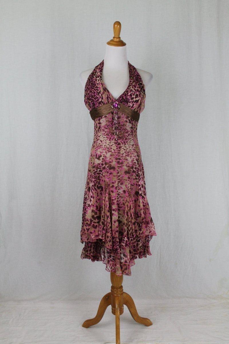 Vintage Diane Freis Hand Beaded Silk Halter Dress Pink & Brown Leopard Print 4 S