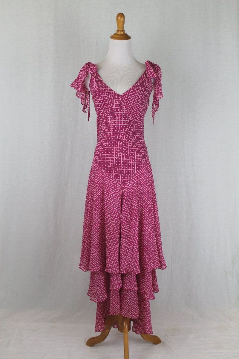 Vintage Celia Birtwell for Express Iconic Long Flowing Pink Silk Maxi Dress Gown