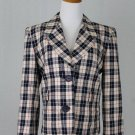 Yves Saint Laurent Rive Gauche VINTAGE Blue Plaid Blazer Jacket 40/M