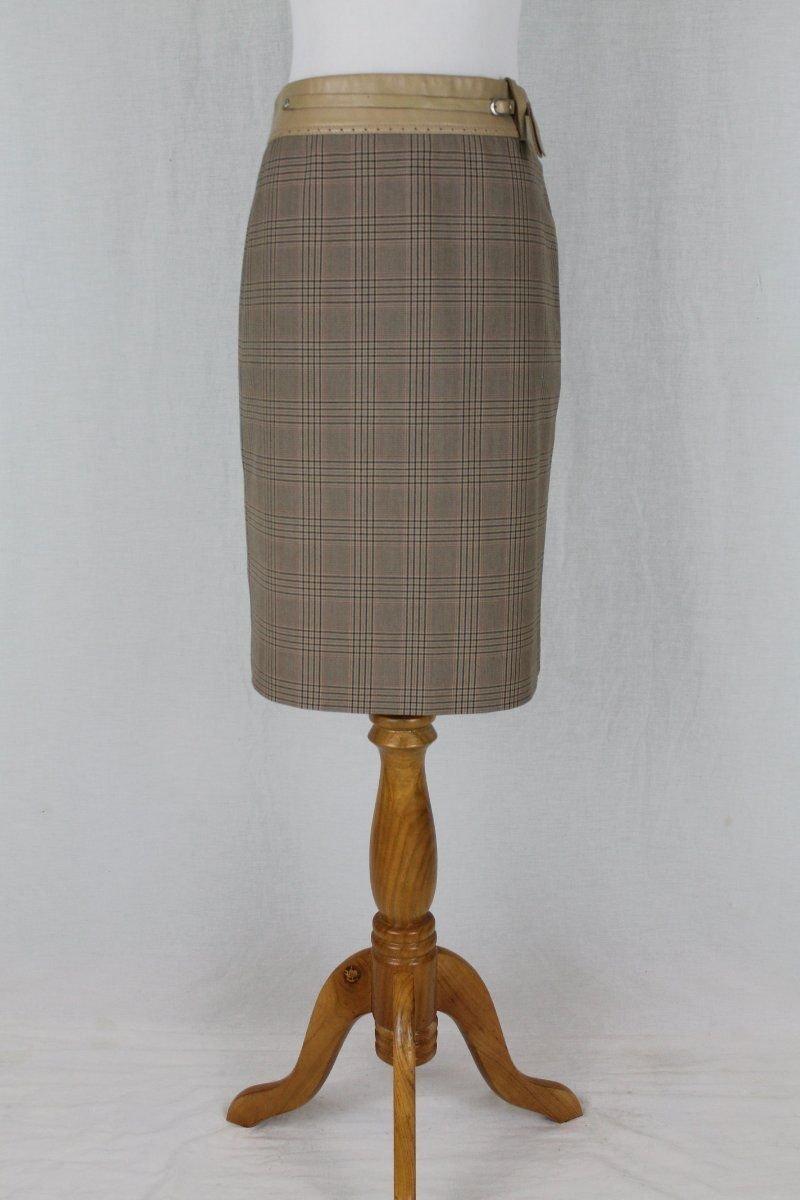 BCBGMaxAzria Beige & Black Knee Length Glen Plaid Skirt with Leather Trim  0