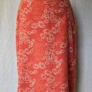 Vintage Banana Republic Orange & White Lined Cotton Blend Pencil Skirt 2