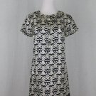 Banana Republic Silk Blend Ruffled Shift Dress Navy Blue and Cream XS