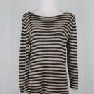 Ralph Lauren Lauren Beige and Black Striped Boat Neck Linen Tunic Sweater M