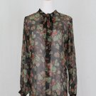 Ralph Lauren POLO Sheer Black Floral Silk Pussy Bow Neck Tunic Blouse 4 S