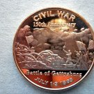 Civil War Battle of Gettysburg 1oz Copper Round Coin