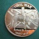 Robert E Lee 1807-1870 Civil War - 1 Oz Copper Round Coin