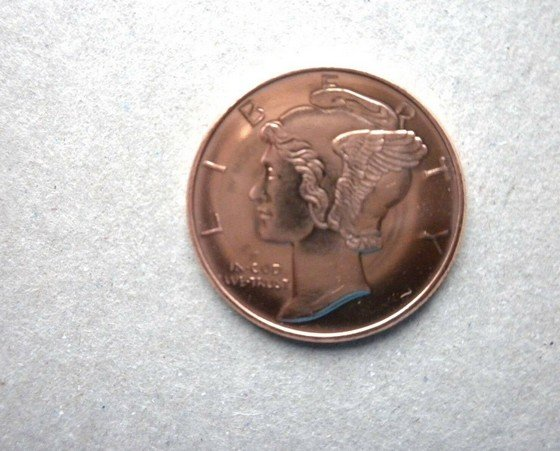 Coin US Mercury Head Design 1/4 oz Copper Bullion