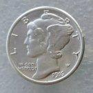 New Silver US 1916D Mercury Dime Souvenir Coin Art